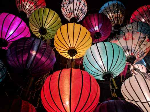 red blue yellow and white sky lantern lot